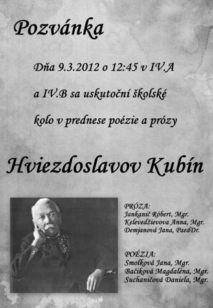 ee0ae621a ... škole koná recitačná súťaž v prednese poézie a prózy Hviezdoslavov Kubín.  V piatok sa v priestoroch Školskej knižnice a IV.B triedy konalo školské  kolo ...